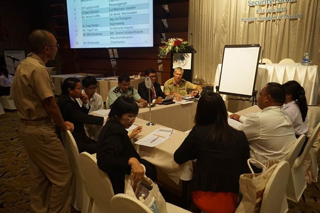 2015 PESF participants discuss an environmental security group activity